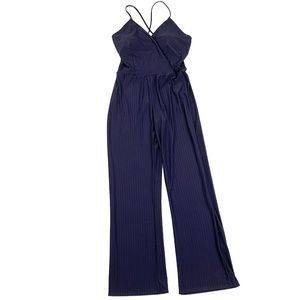 Fashion Nova Press Rewind Stripe Jumpsuit Navy